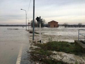 Campi e strade allagate a Lentigione - foto reggioonline